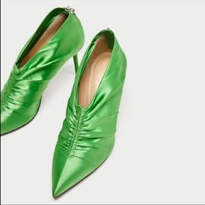 Zara Green Satin Pointy Heel Booties